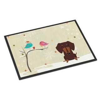 Carolines Treasures BB2603MAT Christmas Presents Between Friends Dachshund Chocolate Indoor or Outdoor Mat 18 x 0.25 x 27 in.