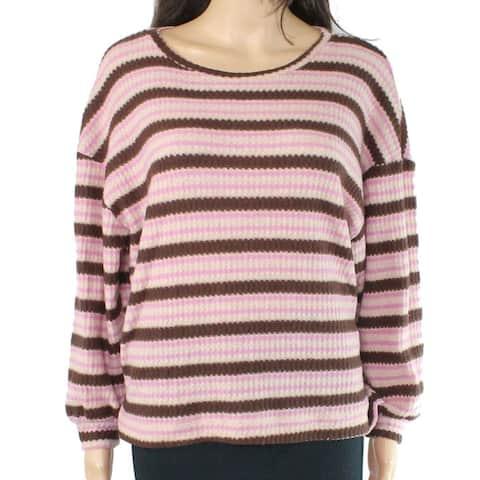Lush Juniors Sweater Purple Pink Size Medium M Knit Striped Print