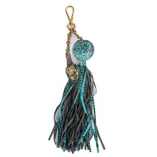 Roberto Cavalli Blue Lion Pendant Snakeskin Ball Chain Tassel Keychain