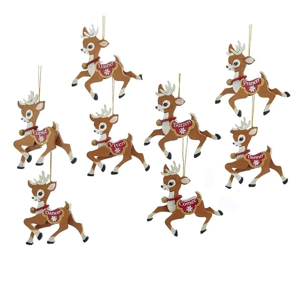 Pack of 8 Brown, White and Red Santa's Flying Reindeer Friends Christmas Ornaments 4""