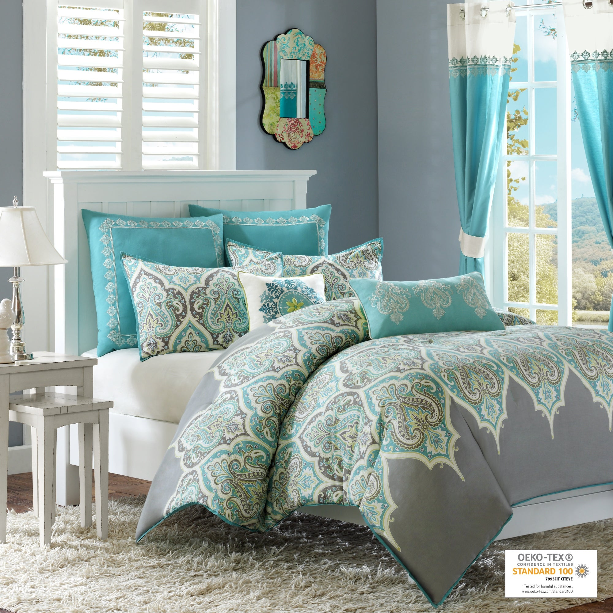 The Curated Nomad Largo Cotton 7 Piece Comforter Set Including Euro Sham Decorative Pillows Overstock 21285213