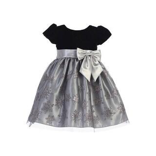 Link to Lito Girls Silver Black Velvet Glitter Tulle Snowflake Christmas Dress Similar Items in Girls' Clothing