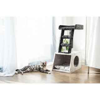 "Link to Catry's 31"" Grey and White Ladder Cat Tree with Paper Rope Covered Scratch Post Fleece Covered Cat Tower Similar Items in Cat Ramps & Stairs"