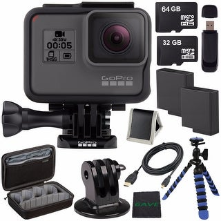 GoPro HERO5 Black CHDHX-501 + Replacement Lithium Ion Battery For GoPro Hero5 + 32GB microSD Card + 64GB microSDXC Card Bundle