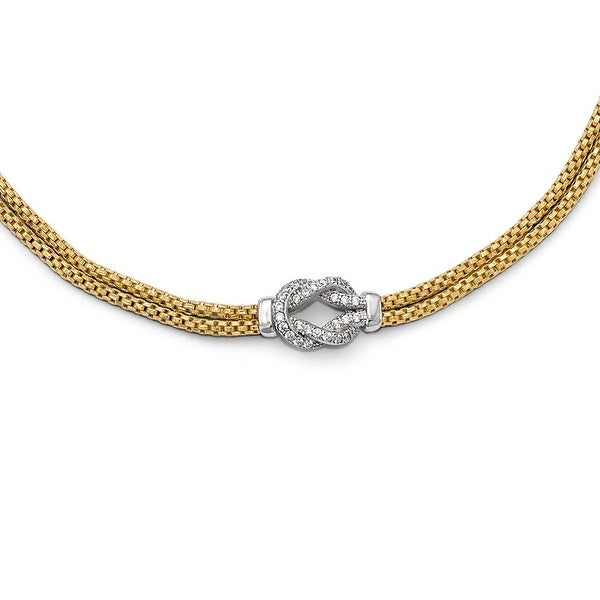 Italian Sterling Silver Gold-tone Rhodium-plated CZ with 1in ext. Bracelet - 7 inches