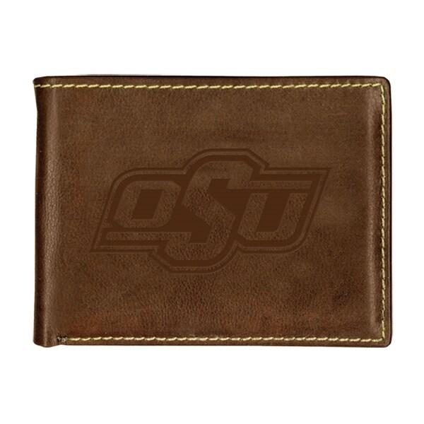 Oklahoma State University Contrast Stitch Bifold Leather Wallet