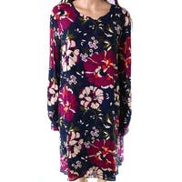 Tommy Hilfiger Blue Womens Size 16 Floral Button Sleeve Shift Dress