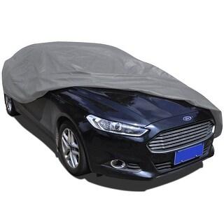 vidaXL Full Car Cover L Nonwoven Heat Sun UV Snow Dust Resistant Protection - grey