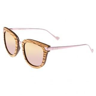 Earth Wood Nissi Unisex Wood Sunglasses - 100% UVA/UVB Prorection - Polarized/Mirrored Lens - Multi