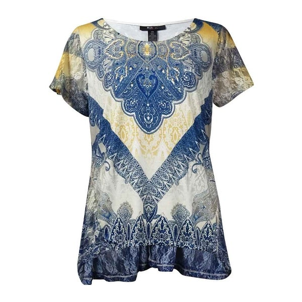 Style & Co Women's Printed Embellished Handkerchief Hem Blouse