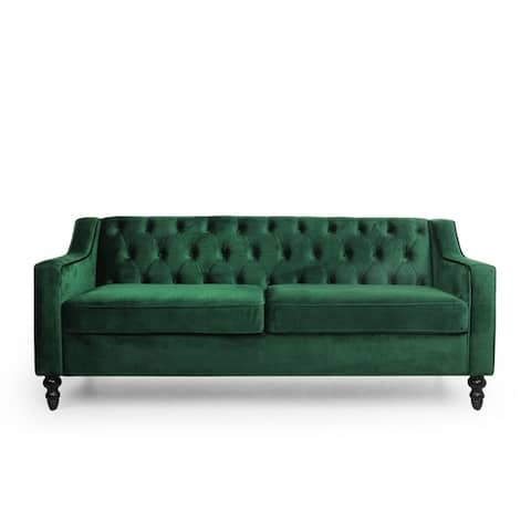 Knouff Modern Glam Tufted Velvet 3 Seater Sofa by Christopher Knight Home