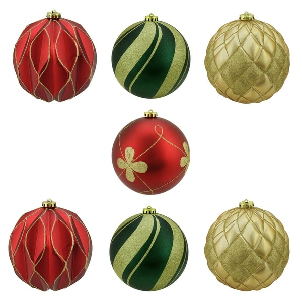 "7ct Matte and Glitter Red, Gold and Green Earthy Shatterproof Ball Christmas Ornaments 6"" (150mm)"