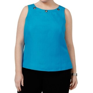 Kasper Blue Grotto Women's Size 14W Plus Grommet-Trim Tank Blouse