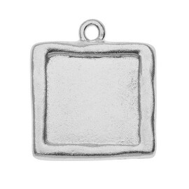 TierraCast Rhodium Plated Pewter Square Picture Frame Pendant 25mm (1)