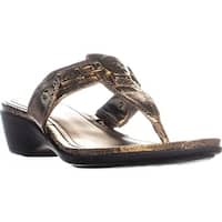 Marc Fisher Amina3 Thong Wedge Flip Flops, Bronze