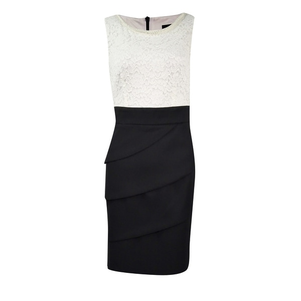 Connected Women's Petite Lace Tiered Colorblock Sheath Dress. Opens flyout.