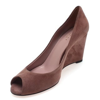 Gucci Women's Suede Wedge Open Toe Heel Brown