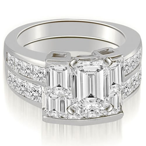 3.30 cttw. 14K White Gold Channel Diamond Princess and Emerald Cut Bridal Set