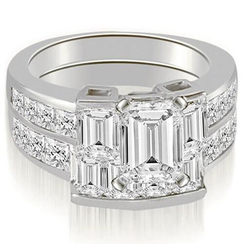 3.80 cttw. 14K White Gold Channel Diamond Princess and Emerald Cut Bridal Set