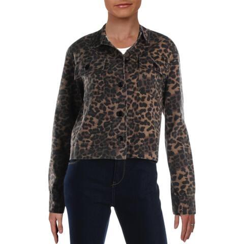Aqua Womens Jean Jacket Denim Animal Print - Wildcat - M