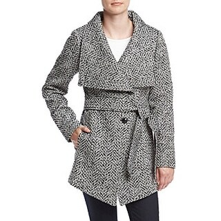 Jessica Simpson Asymmetrical Button-Front Wrap Tweed Extra Large