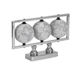 """11"""" Black and White Trio of World Globes and Aluminium Base Frame Table Top Decor"""