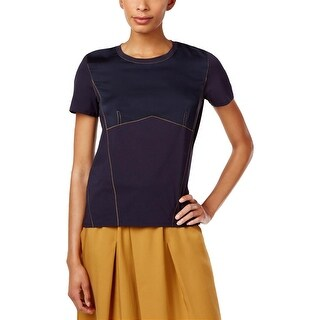 DKNY Womens Casual Top Mixed Media Embroidered