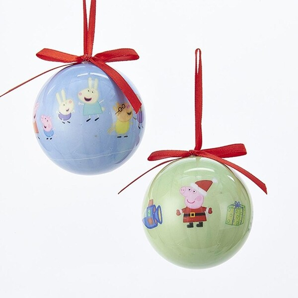 club pack of 24 green and blue peppa pig decorative decoupage ball ornaments 236