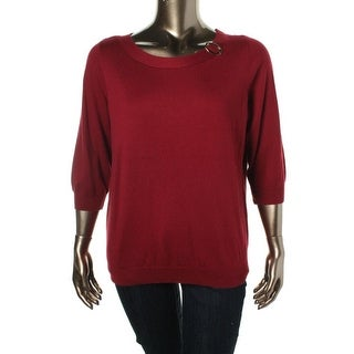 Karen Scott Womens Plus 3/4 Sleeves Brooch Pullover Sweater - 1X