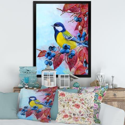 Designart 'Bright Bird Bullfinch Sitting on A Branch II' Traditional Framed Art Print