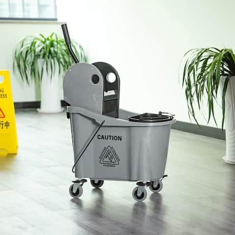 HomCom 9.5 Gallon Mop Bucket with Wringer Cart, 4 Moving Wheels, 2 Separate Buckets, & Mop-Handle Holder, Black