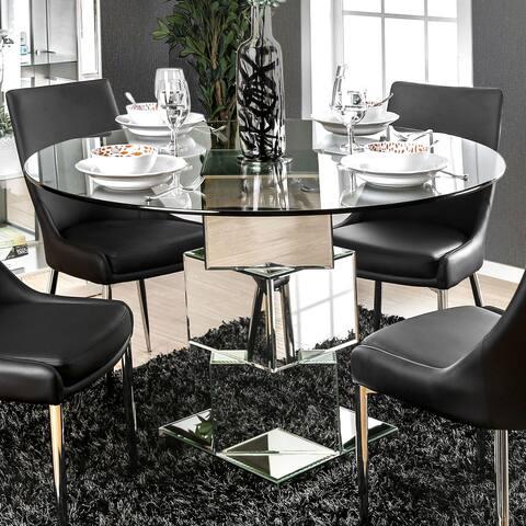 Furniture of America Rubo Modern Chrome 50-inch Metal Dining Table