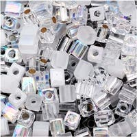 Miyuki 4mm Glass Cube Bead Mix 'Crystal Medley' 10 Grams