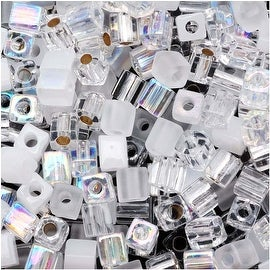 Miyuki 4mm Glass Cube Bead Mix 'Crystal Medley' 10 Grams
