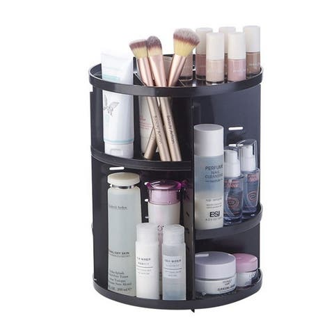 Coutlet Rotating Cosmetic Storage Tower Makeup Organizer Jewelry Storage Display Rack Rotary Storage Box for Makeup - Black