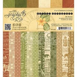 "Graphic 45 Double-Sided Paper Pad 6""X6"" 36/Pkg-Safari Adventure Print & Solid 12 Design"