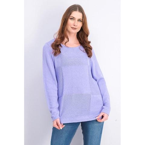 Karen Scott Women's Patchwork-Stitch Pullover Sweater Purple Bliss Size Large