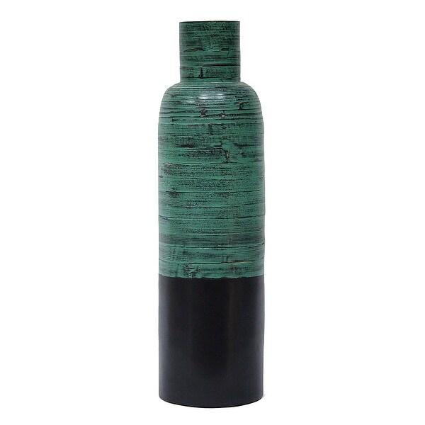 """24"""" Spun Bamboo Bottle Vase - Bamboo In Distressed Blue & Matte Black"""