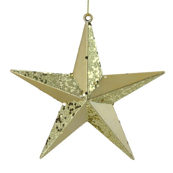 "6"" Vegas Gold 5-Point Glitter Star Christmas Ornament"