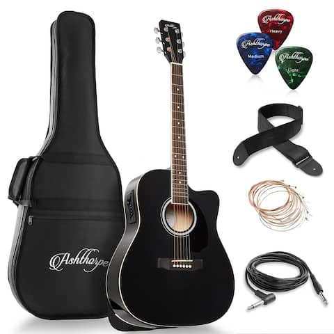 Ashthorpe Full-Size Dreadnought Cutaway Acoustic-Electric Guitar Bundle - Premium Tonewoods