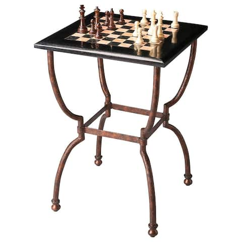 Transitional Square Fossil Stone Game Table in Metalwork Finish - Multicolor