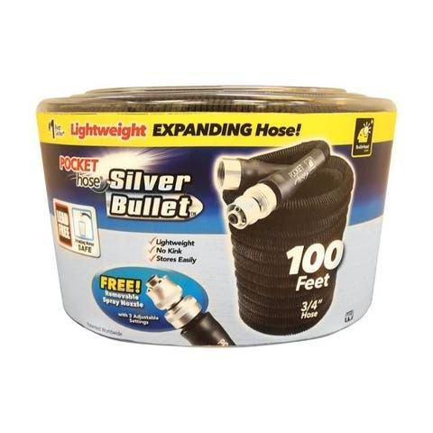 Pocket Hose Silver Bullet Expanding Black Plastic Garden Hose - 8.6 x 9.9 x 6.15