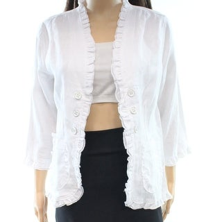 Multiples NEW White Womens Size Small S Ruffled Open-Front Jacket