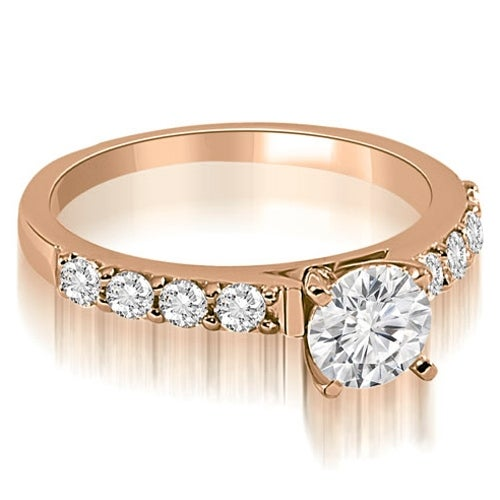 0.90 cttw. 14K Rose Gold Round Cut Diamond Engagement Ring