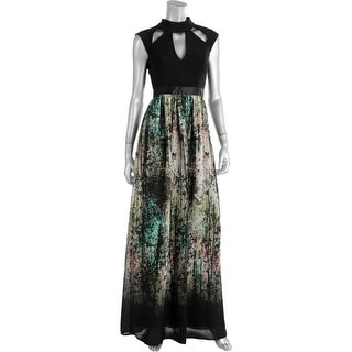 ABS Collection Womens Chiffon Printed Cut-Out Maxi Dress