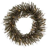 "24"" Pre-Lit Vienna Twig Artificial Christmas Wreath - Clear Lights - brown"