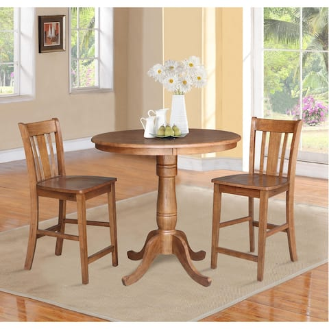 "36"" Round Pedestal Gathering Height Table with 2 San Remo Counter Height Stools - 3 Piece Set"