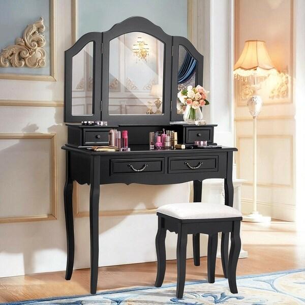 Shop Costway Tri Folding Mirror Bathroom Wood Vanity Set