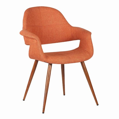 Fabric Mid Century Dining Chair with Round Tapered Legs, Orange and Brown