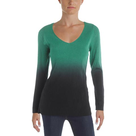 NY Collection Womens Pullover Sweater Ribbed Knit Ombre